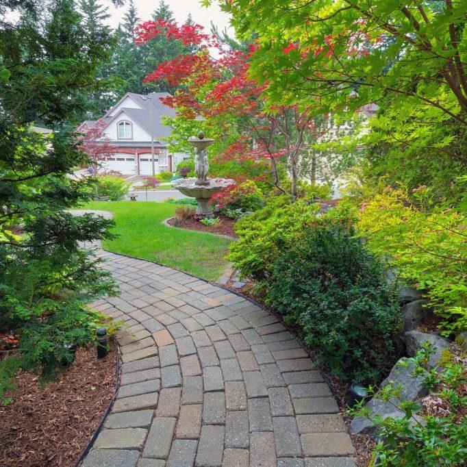 a stone brick garden walkway