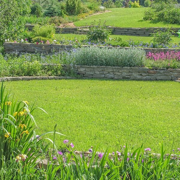 beautiful blooming garden with retaining walls green lawns and flower gardens on a sunny summer day